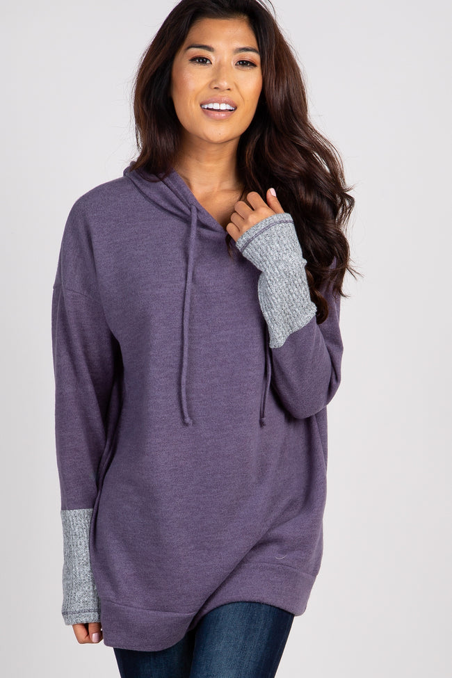 Purple Colorblock Sleeve Knit Hoodie