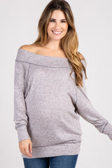 Pink Heather Knit Off Shoulder Maternity Top