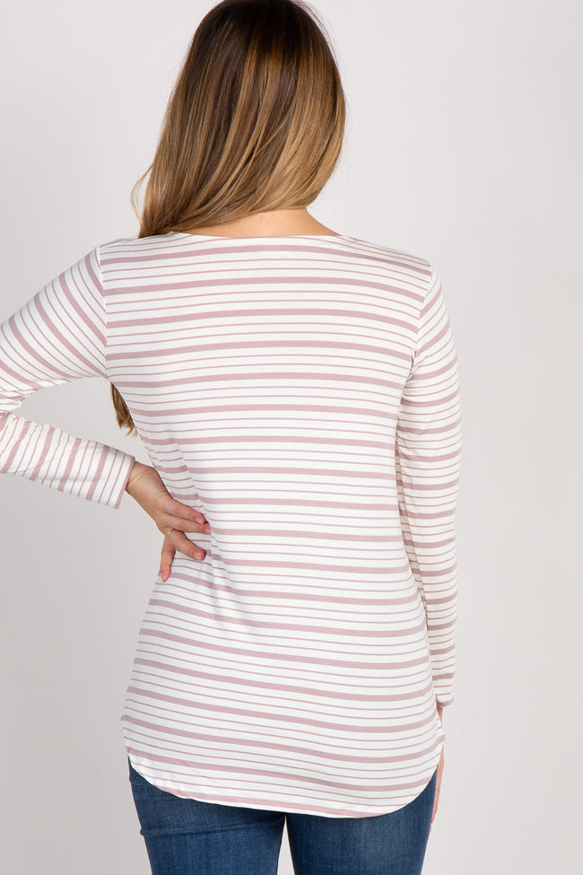 Mauve Striped 3/4 Sleeve Lace Up Maternity Top