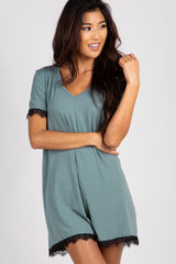 Sage Lace Trim Sleep Romper