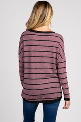 Heather Mauve Striped Knit Maternity Top