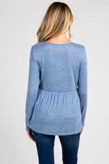 PinkBlush Blue Soft Knit Maternity Peplum Top