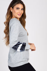 Heather Grey Colorblock Velvet Sleeve Top