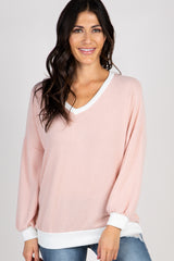 Light Pink Colorblock Long Sleeve Maternity Top