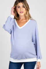 Periwinkle Colorblock Long Sleeve Maternity Top