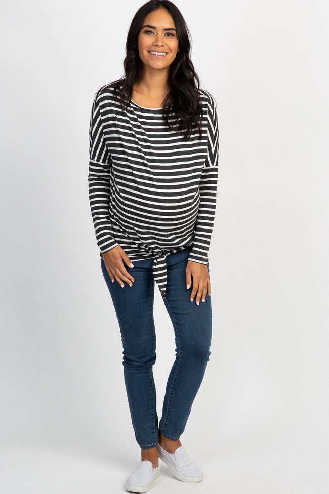 Charcoal Striped Dolman Tie Front Maternity Top