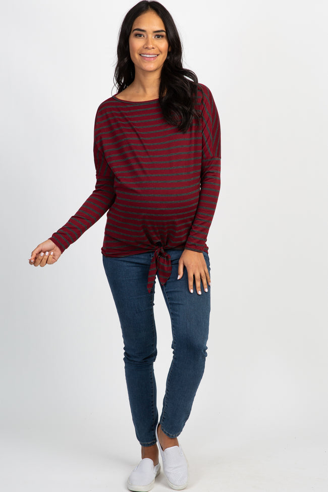 Burgundy Striped Dolman Tie Front Top