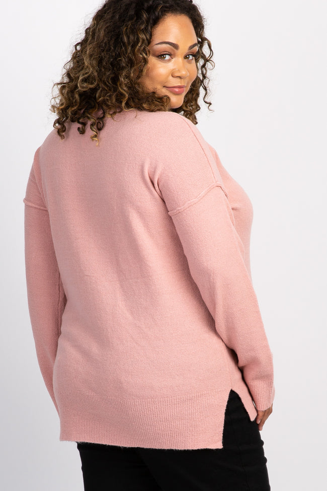Light Pink Soft Knit Ribbed Sleeve Plus Maternity Sweater