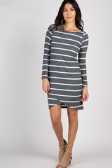 Charcoal Grey Striped Wrap Hem Dress