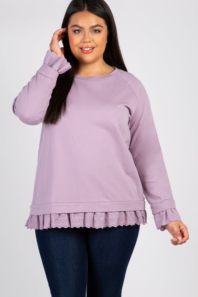 Lavender Crochet Trim Plus Maternity Sweater