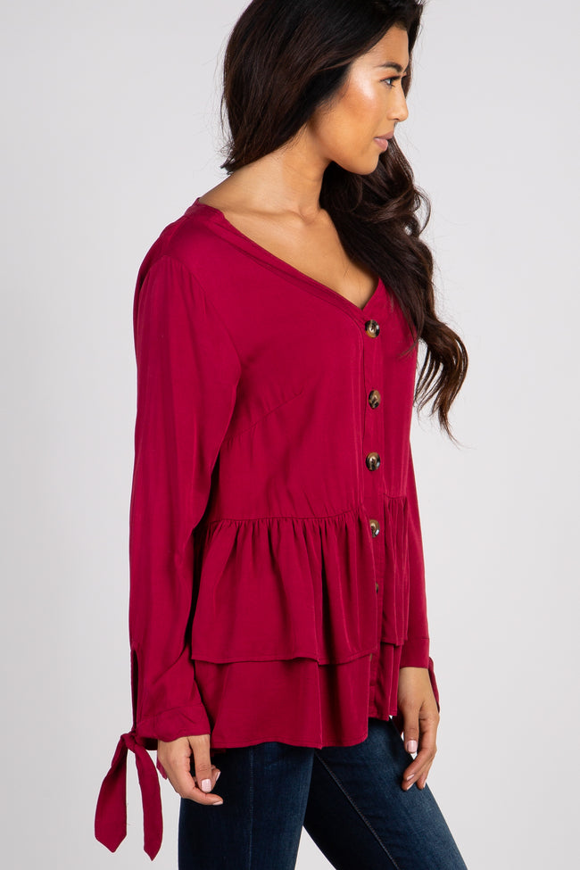 Burgundy Solid Button Front Tie Sleeve Layered Top