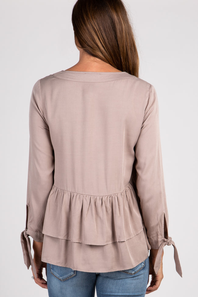 Mocha Button Front Layered Ruffle Trim Top