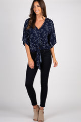 Navy Blue Printed Tie Front Top