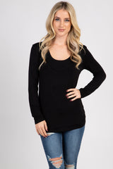 Black Ruched Fitted Nursing Top