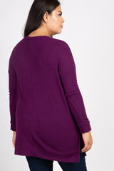 Plum Waffle Knit Long Sleeve Plus Top