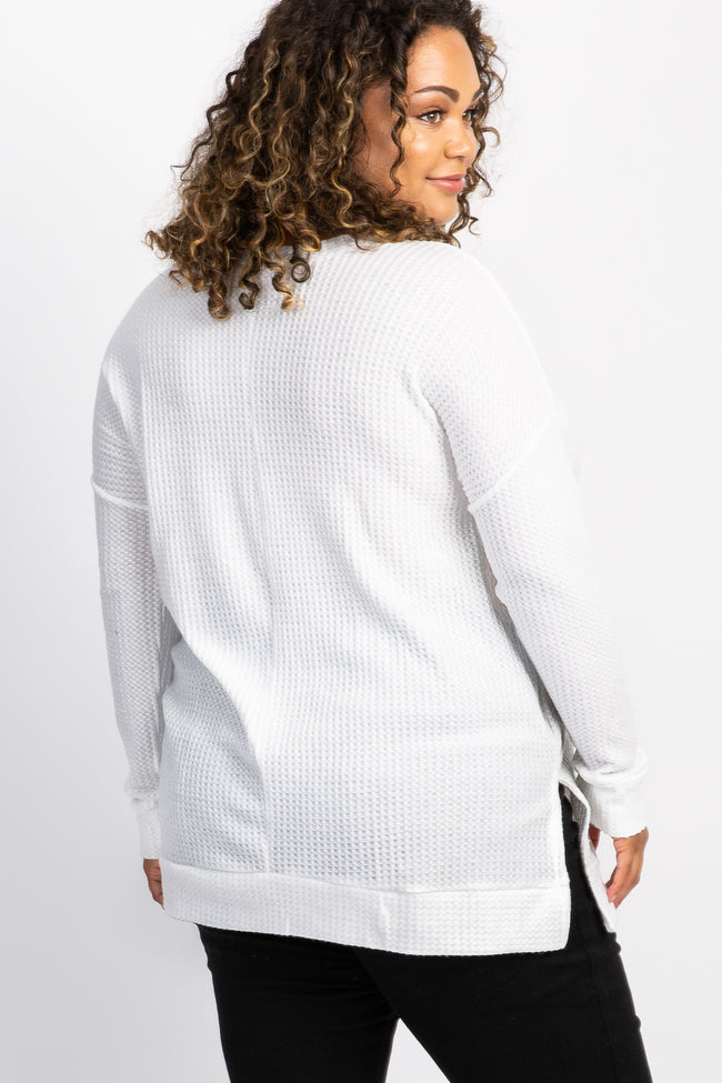 Ivory Waffle Knit Long Sleeve Plus Maternity Top