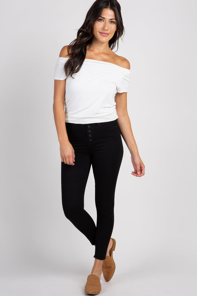 Black Solid Button Closure High-Rise Skinny Jeans
