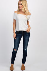Navy Blue Dark Wash Slightly Distressed Jeans