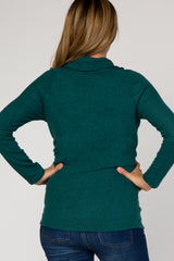 Forest Green Heather Knit Cowl Neck Maternity Top