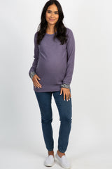 Violet Striped Cuff Sleeve Knit Top