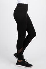 Black Mesh Accent Active Leggings