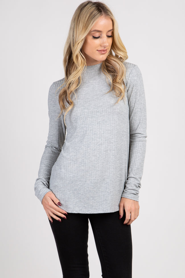 Grey Ribbed Mock Neck Long Sleeve Maternity Top