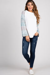 Ivory Striped Colorblock Sleeve Top