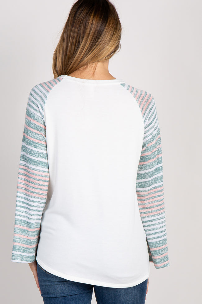 Ivory Striped Colorblock Sleeve Maternity Top