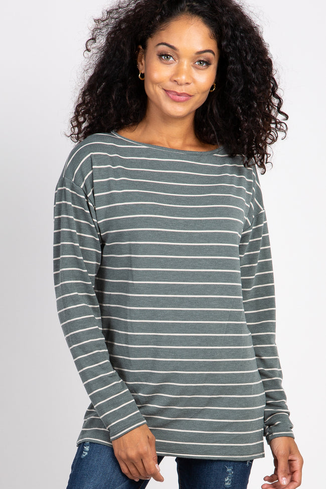 Olive Striped Long Sleeve Maternity Top
