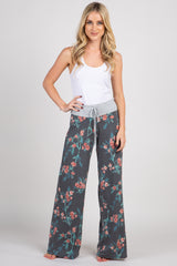 Heather Black Floral Maternity Lounge Pants