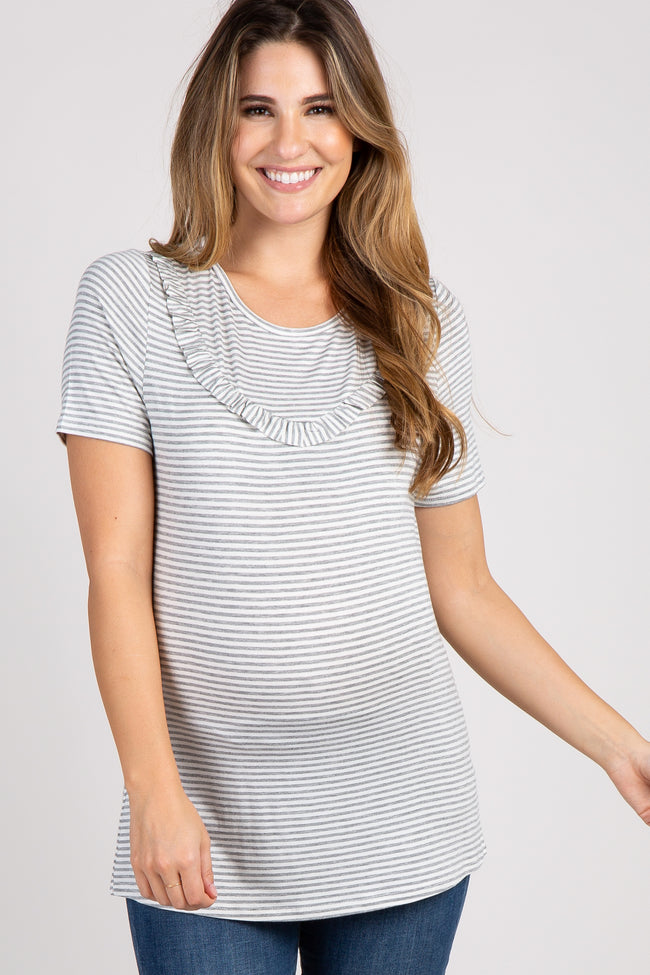 Heather Grey Striped Short Sleeve Maternity Ruffle Top