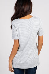 Heather Grey Striped Short Sleeve Ruffle Top