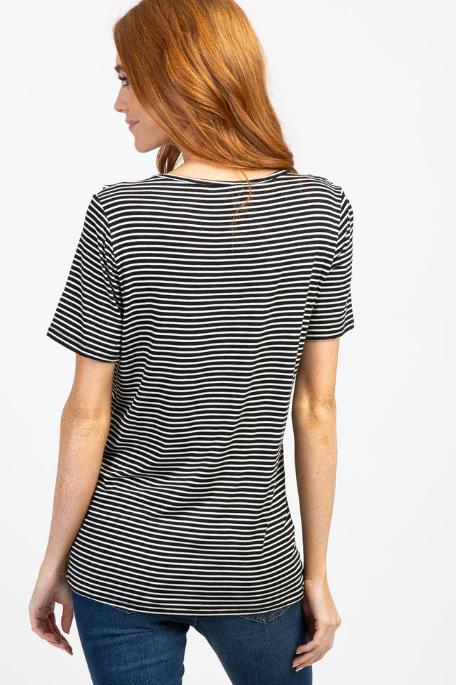 Black Striped Short Sleeve Maternity Ruffle Top