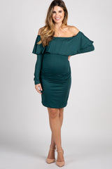PinkBlush Forest Green Ruffle Trim Off Shoulder Fitted Maternity Dress