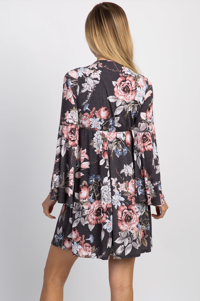 Charcoal Floral Bell Sleeve Wrap Dress