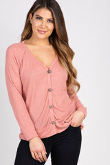 Mauve Ribbed Button Down Maternity Top