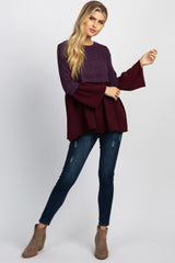 Purple Ribbed Peplum Long Sleeve Top
