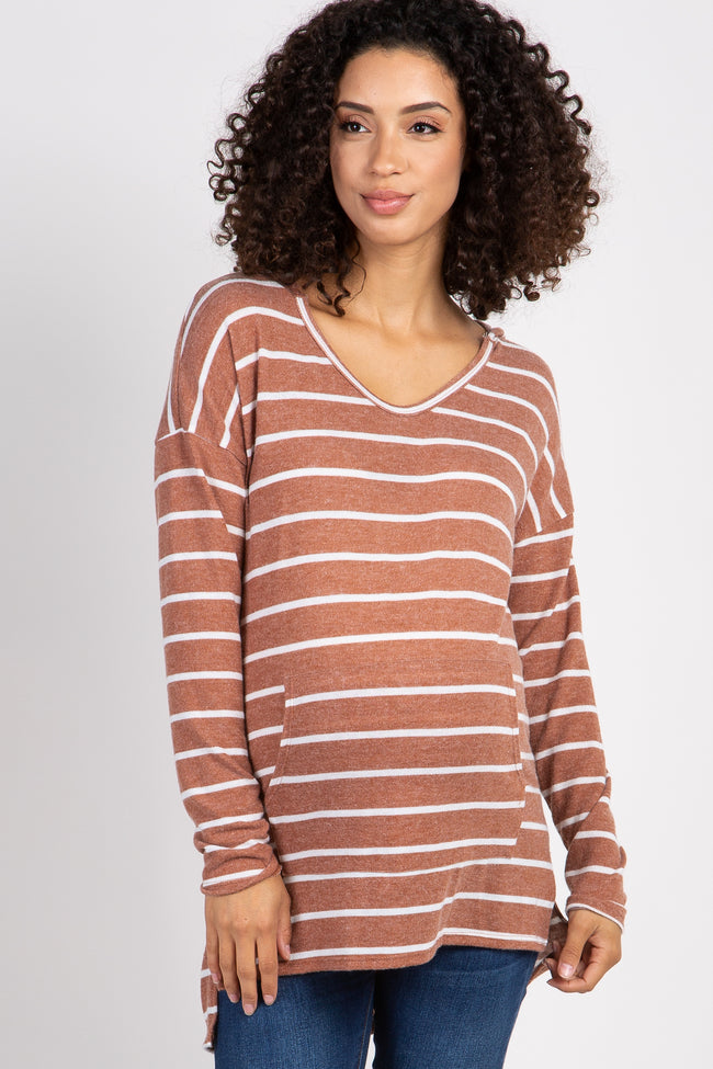 Rust Striped Hooded Maternity Top