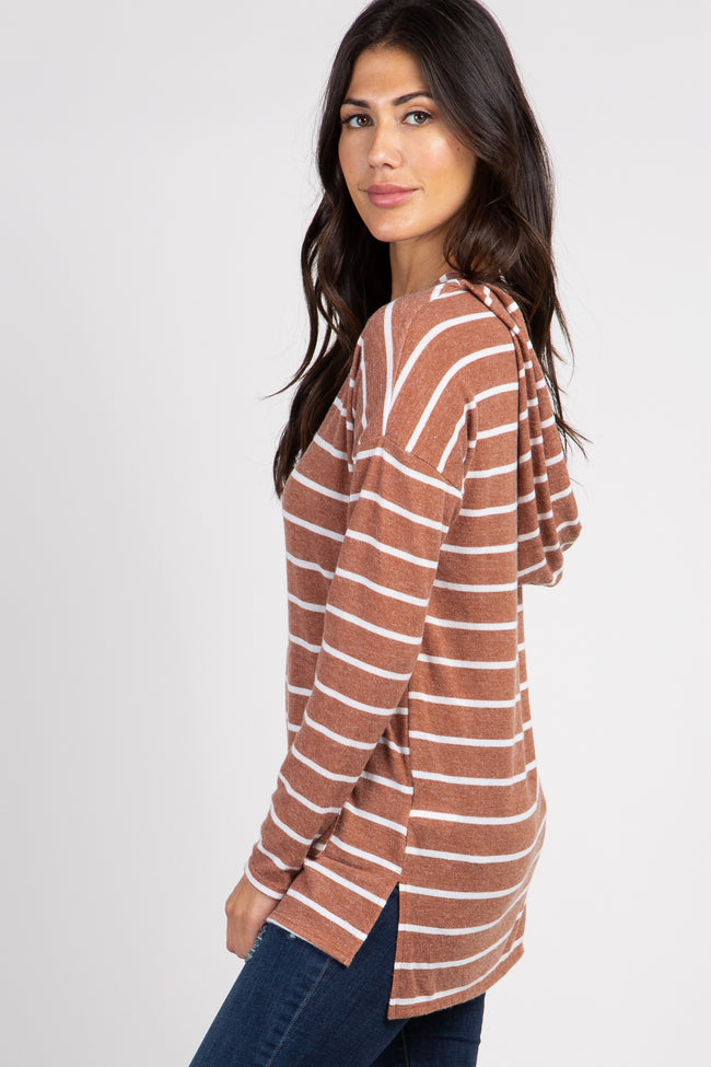 Rust Striped Hooded Top