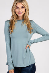 Green Knit Mock Neck Long Sleeve Maternity Top