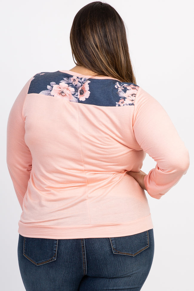Peach Floral Accent Long Sleeve Plus Top