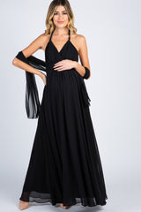 Black Chiffon Halter Tie Back Maternity Evening Gown