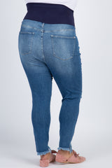 Blue Frayed Hem Distressed Maternity Plus Jeans