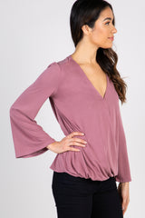 Mauve Surplice Long Bell Sleeve Knit Top