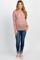 Rust Heather Striped Maternity Hooded Top