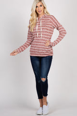 Burgundy Heather Striped Hooded Top