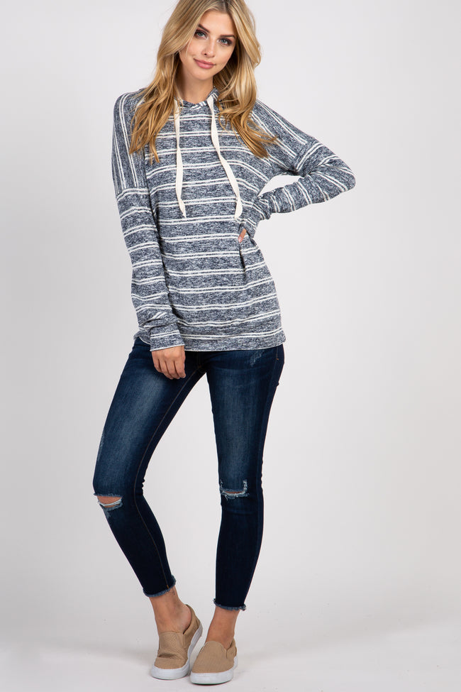 Navy Blue Heather Striped Hooded Top
