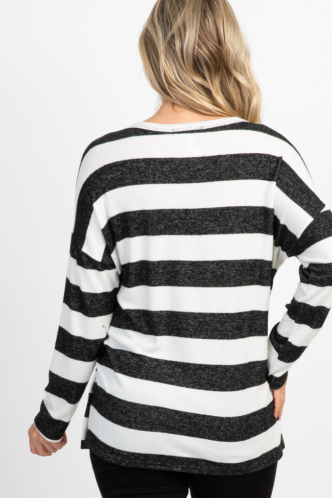 Black Striped Side Button Maternity Top