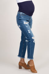 Blue Distressed Cropped Maternity Jeans