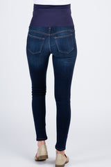 Navy Blue Dark Wash Maternity Skinny Jeans